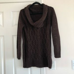 Sweaters - Cosy Off Shoulder Sweater Lurex Chunky Cable Knit